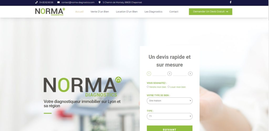 creation de site internet sur mesure à lyon norma diagnostics